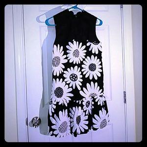 Victoria Beckham Black daisy Drop waist dress